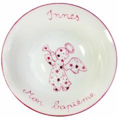 Coupelle en porcelaine Ange rose étoile personnalisable