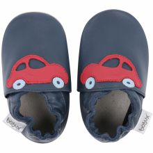 Chaussons en cuir Soft soles bleu marine voiture rouge (15-21 mois)  par Bobux