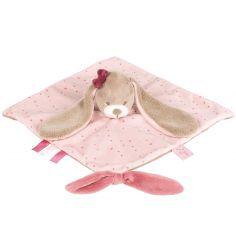 Doudou plat attache sucette Nina le lapin (27 x 27 cm)