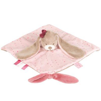 Doudou plat attache sucette Nina le lapin (27 x 27 cm)  par Nattou