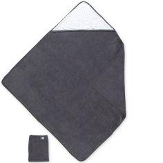 Cape de bain terry et jersey Zague gris pingu (90 x 90 cm)
