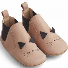 Chaussons bébé en cuir Edith Cat rose (pointure 21)