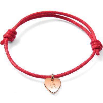 Bracelet Initiales avec coeur personnalisable (plaqué or)  par Merci Maman