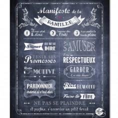 Affiche à encadrer Manifeste de la Famille gris ardoise (40 x 50 cm)