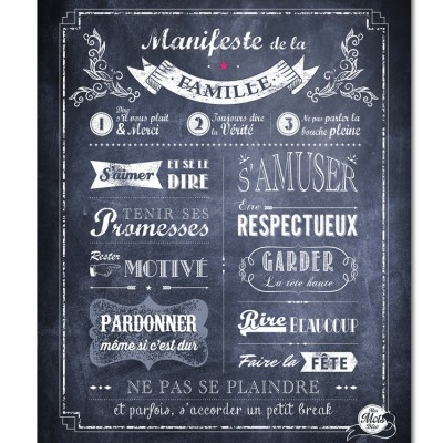affiche encadrer manifeste de la famille gris ardoise 40 x 50 cm par mes mots d co. Black Bedroom Furniture Sets. Home Design Ideas