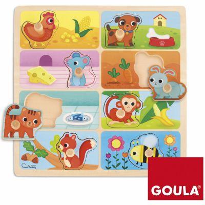 Puzzle Les animaux et leurs repas préférés (8 pièces)  par Goula