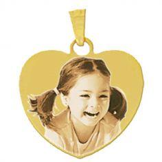 Pendentif coeur avec photogravure 1 visage (or jaune 375°)