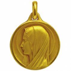 Médaille ronde Sancta Maria 21 mm avec revers (or jaune 750°)