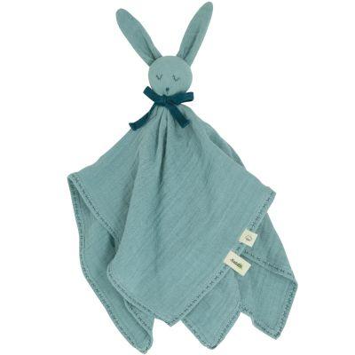 Doudou plat en coton bio Lapin bleu-vert  par Kadolis