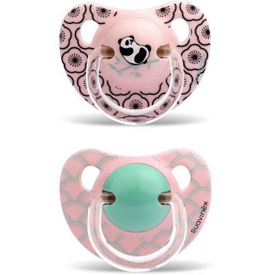 Lot de 2 sucettes physiologiques Panda rose en silicone fille (18 mois et +)  par Suavinex