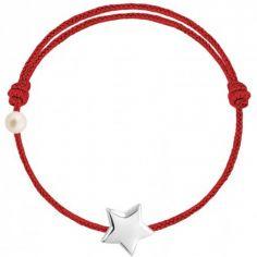 Bracelet cordon Etoile et perle rouge (or blanc 750°)