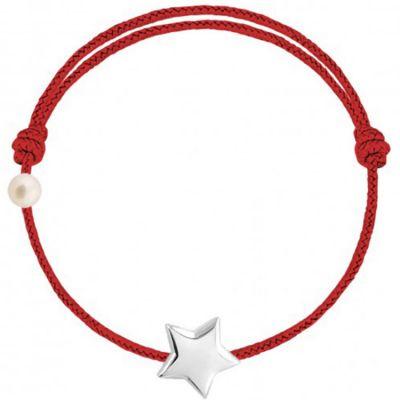 Bracelet cordon Etoile et perle rouge (or blanc 750°)  par Claverin