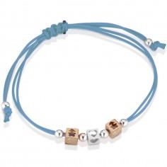 Bracelet cordon turquoise 2 cubes fille 1 cube coeur (or rose 375° et argent 925°)