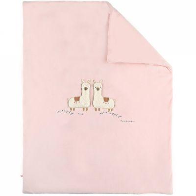 Couverture en veloudoux rose lama Sacha (75x 100 cm)  par Noukie's