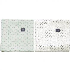 Lot de 2 maxi langes en coton Gray mist et Bumble (120 x 120 cm)