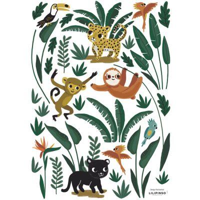 Stickers Jungle night animaux de la jungle (29,7 x 42 cm)