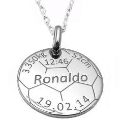 Médaille de naissance football avec chaîne personnalisable (argent 925° rhodié)