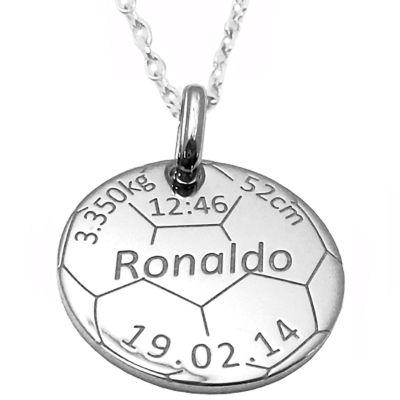 Médaille de naissance football avec chaîne personnalisable (argent 925° rhodié)  par Alomi