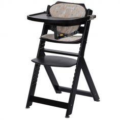 Chaise haute évolutive Timba noire avec coussin Warm Grey