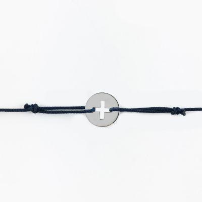 Bracelet cordon mini bijou croix grecque (or blanc 18 carats)  par Maison La Couronne