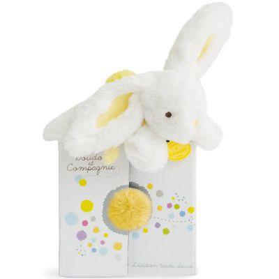 Peluche lapin Coucou doudou jaune tendre (20 cm) Doudou et Compagnie