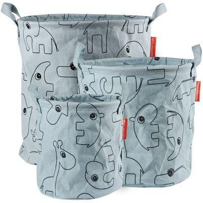 Lot de 3 sacs à jouets Contour bleu  par Done by Deer