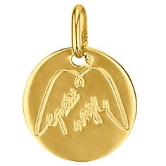 Médaille ronde Petit Ange ailes 14 mm (or jaune 750°)