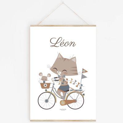 Affiche A4 chat Marius & Souriceau avec support (personnalisable)  par Lutin Petit Pois