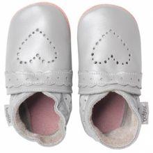 Chaussons bébé cuir Soft soles coeur pointillés argenté (9-15 mois)  par Bobux