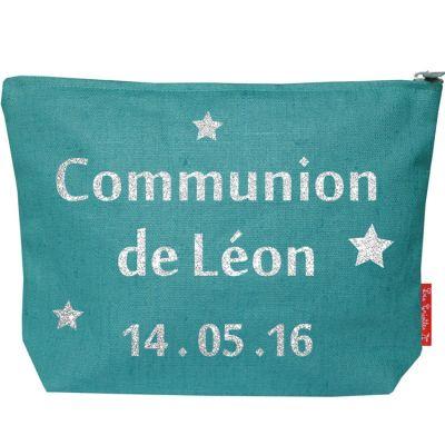 Pochette baptême ou communion bleu canard (personnalisable)  par Les Griottes