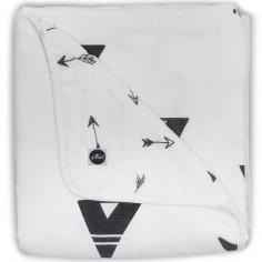 Couverture bébé hydrophile Indians noir et blanc (75 x 100 cm)