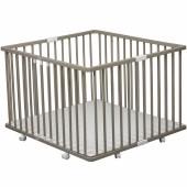 Parc bébé pliable à plancher Gaby en bois massif laqué gris clair (92 x 98 cm) - Combelle