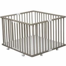 Parc bébé pliable à plancher Gaby en bois massif laqué gris clair (92 x 98 cm)  par Combelle