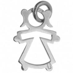 Pendentif silhouette ajourée petite fille 12 mm sur cordon (argent 925°)