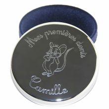 Boîte à dents 'Mes premières dents' à personnaliser motif souris (plaqué argent)  par Louis de l'Ange