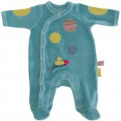 Pyjama chaud Les Pachats turquoise (6 mois : 68 cm) - Moulin Roty