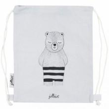 Sac à ficelles en toile ours gris  par Jollein