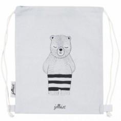 Sac à ficelles en toile ours gris