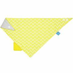 Bavoir bandana avec élément de dentition Zigzag jaune