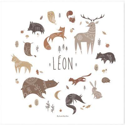 Affiche carrée animaux Wood personnalisable (29,7 x 29,7 cm)  par Lutin Petit Pois