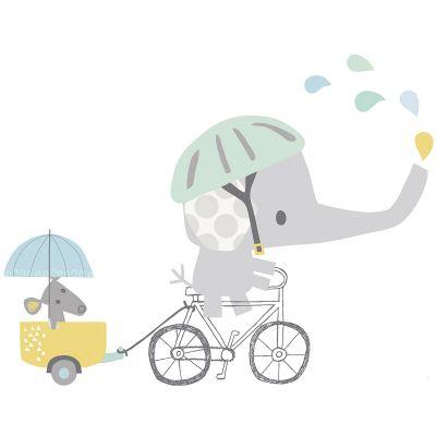 Sticker éléphant à vélo Smile, It's raining by Dawn Machell  par Lilipinso