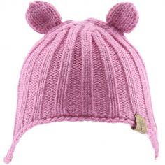Bonnet en tricot avec oreilles rose (0-6 mois)