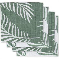 Lot de 4 langes Nature vert cendre (70 x 70 cm)