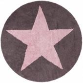 Tapis lavable Etoile rose et marron réversible (diamètre 140 cm) - Lorena Canals