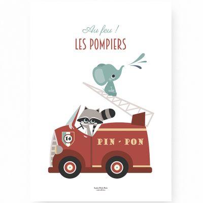Affiche A4 Au feu les pompiers  par Lutin Petit Pois
