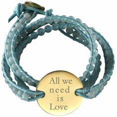 Bracelet cuir maman Indian Amazonite Grande médaille (Plaqué or et cuir)