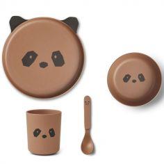 Coffret repas en bambou Panda tuscany rose (4 pièces)