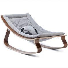Transat à balancement Levo W gris en bois de noyer