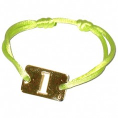 Bracelet cordon papa Lucky number rectangle 23 mm (or jaune 750°)