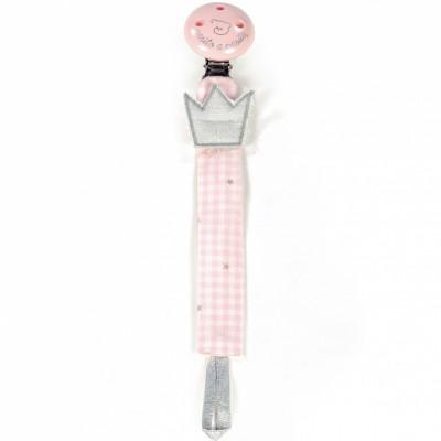 Attache sucette Petite Etoile vichy rose  par Pasito a pasito